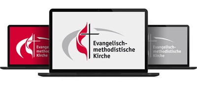 Dieses Bild zeit als Alternativtext drei Laptops mit dem EmK-Logo.